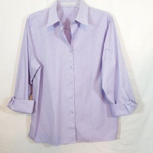 Foxcroft lavender purple dot button front shirt 14